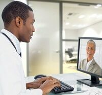 doctor conducting video conference