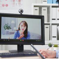 Telemedicine concept on webcam
